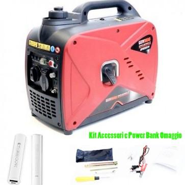 Generatore silenziato gruppo elettrogeno inverter 1Kw benzina 4 tempi Genmac GR1000iN Power Bank Omaggio
