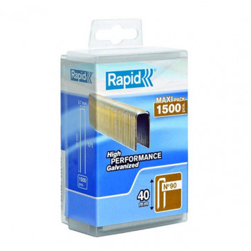 Graffe Rapid 90/40mm dorso stretto acciaio zincato scatola da 1500 pezzi