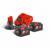 Kit Batterie più caricatore MILWAUKEE 18 V 9.0 Ah M18 NRG-902 RedLithium-Ion