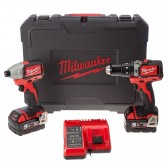 Kit Trapano Avvitatore a Percussione + Avvitatore ad Impulsi M18 Brushless Milwaukee 5Ah 18V